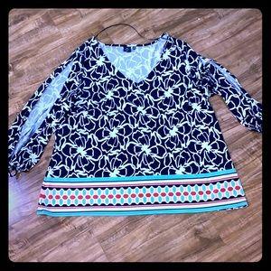 Kaari Blue Split Sleeve Top